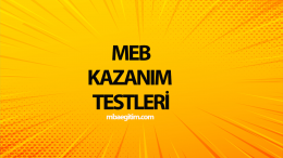 9.Sınıf MEB Kazanım Testleri ve Cevapları 2019