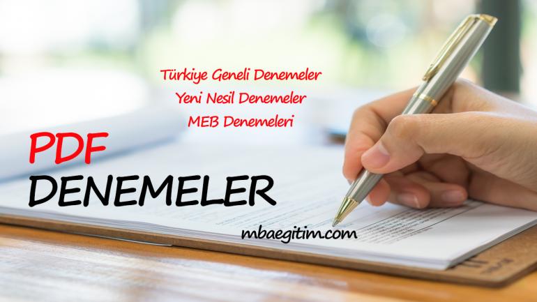 2019 Apotemi Türkiye Geneli Denemesi ve Cevap Anahtarı PDF indir (11-12 Nisan 2019)