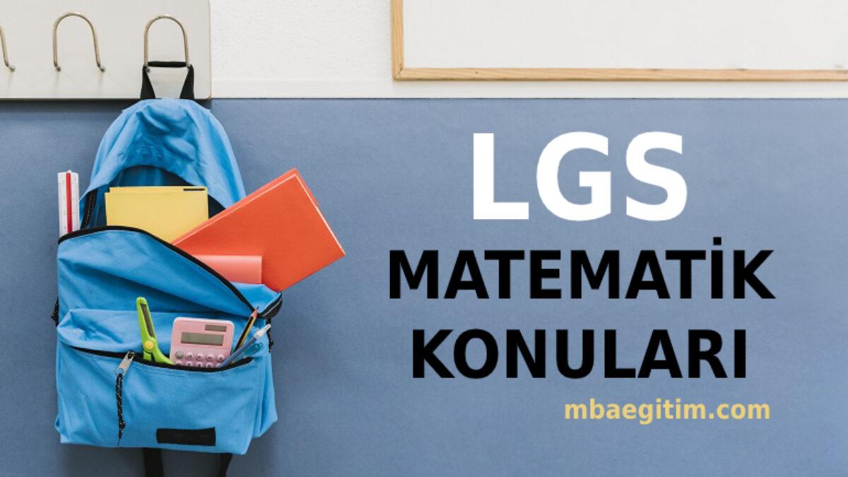 2021 LGS Matematik Konuları ve Soru Dağılımı MEB - 8.Sınıf