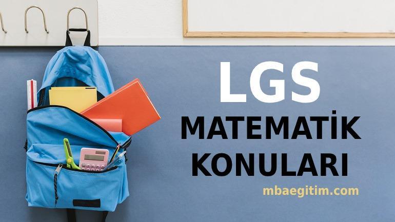 2021 LGS Matematik Konuları ve Soru Dağılımı MEB – 8.Sınıf