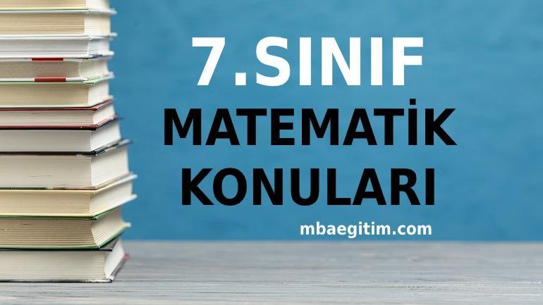 7.Sınıf Matematik Konuları 2021 Müfredatı MEB