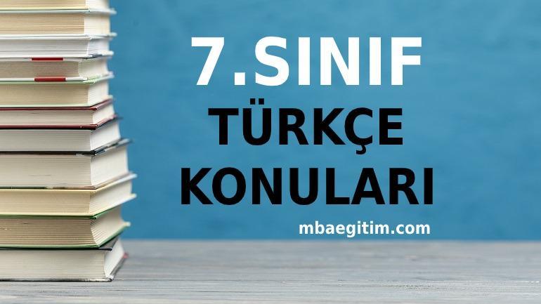7.Sınıf Türkçe Konuları 2021 Müfredatı MEB