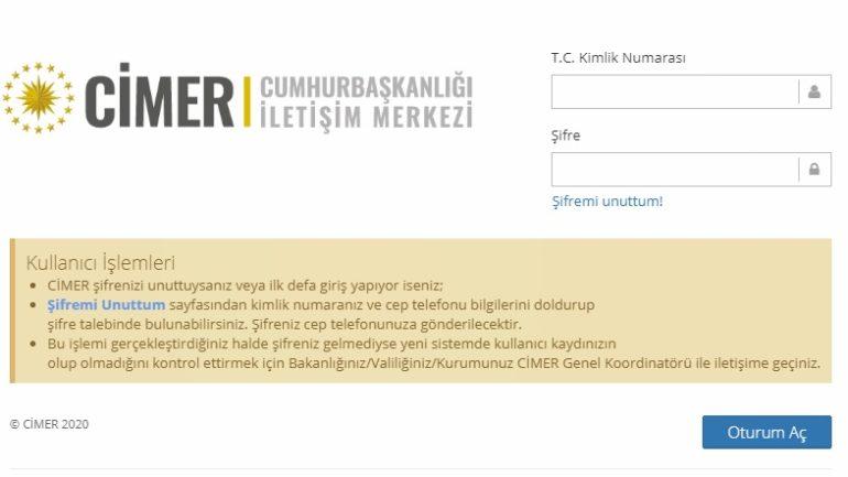 Cimer Kurum Yetkili Kullanıcı Girişi ve Başvuru Ekranı Sayfası