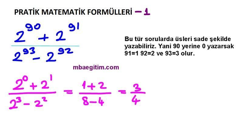 pratik matematik formulleri 1