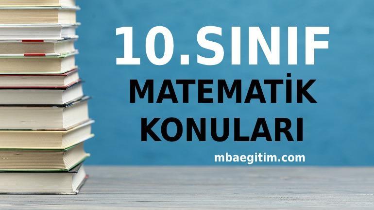 10.Sınıf Matematik Konuları 2020 2021 MEB Müfredatı