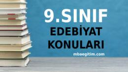 9.Sınıf Türk Dili ve Edebiyatı Konuları 2020 2021 MEB Müfredatı
