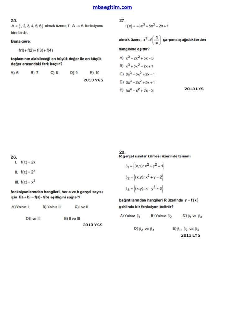 fonksiyonlar çıkmış sorular 07
