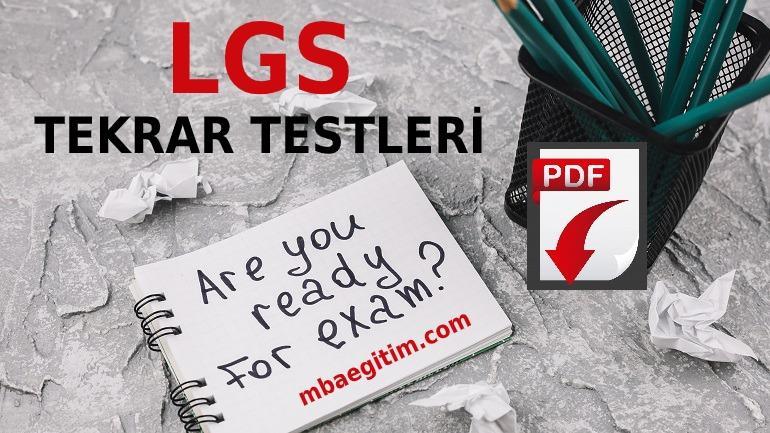 LGS Tekrar Testleri PDF 2020 Matematik Fen 8.Sınıf (1. ve 2. Dönem)