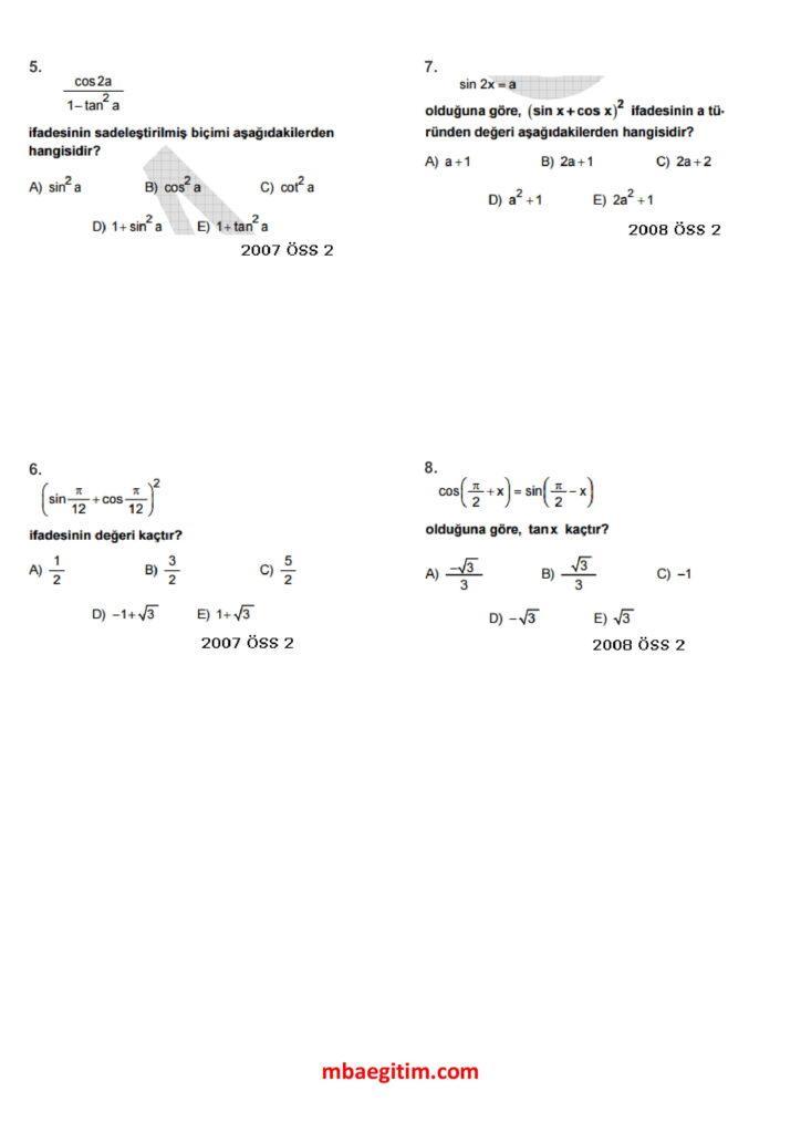 trigonometri çıkmış sorular 02