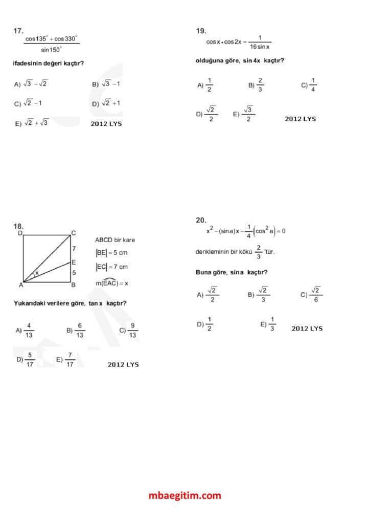 trigonometri çıkmış sorular 05