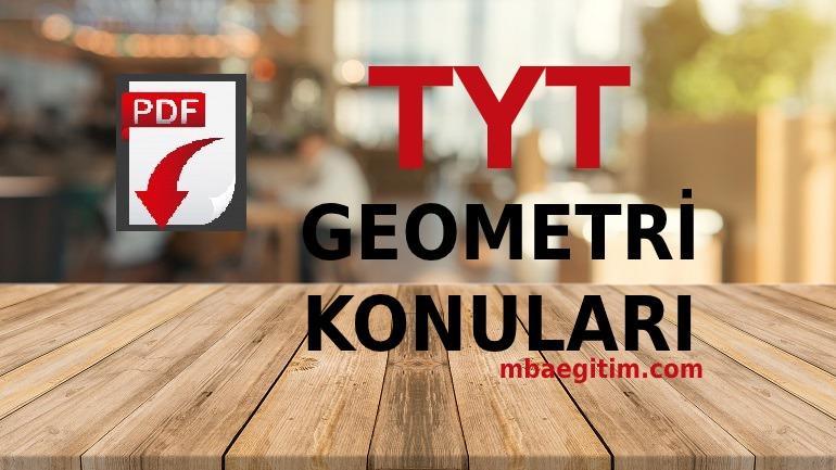 2021 TYT Geometri Konuları PDF