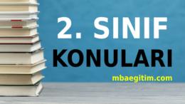 2. Sınıf İngilizce Konuları 2020 2021 MEB Müfredatı