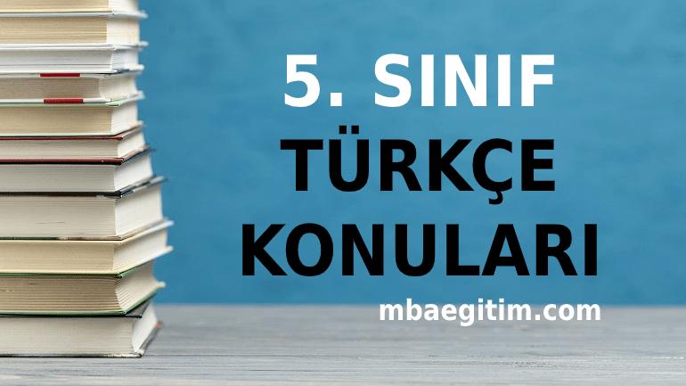 5. Sınıf Türkçe Konuları 2021 Müfredatı MEB