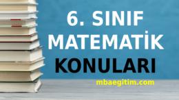 6. Sınıf Matematik Konuları ve Müfredatı 2020 2021 MEB